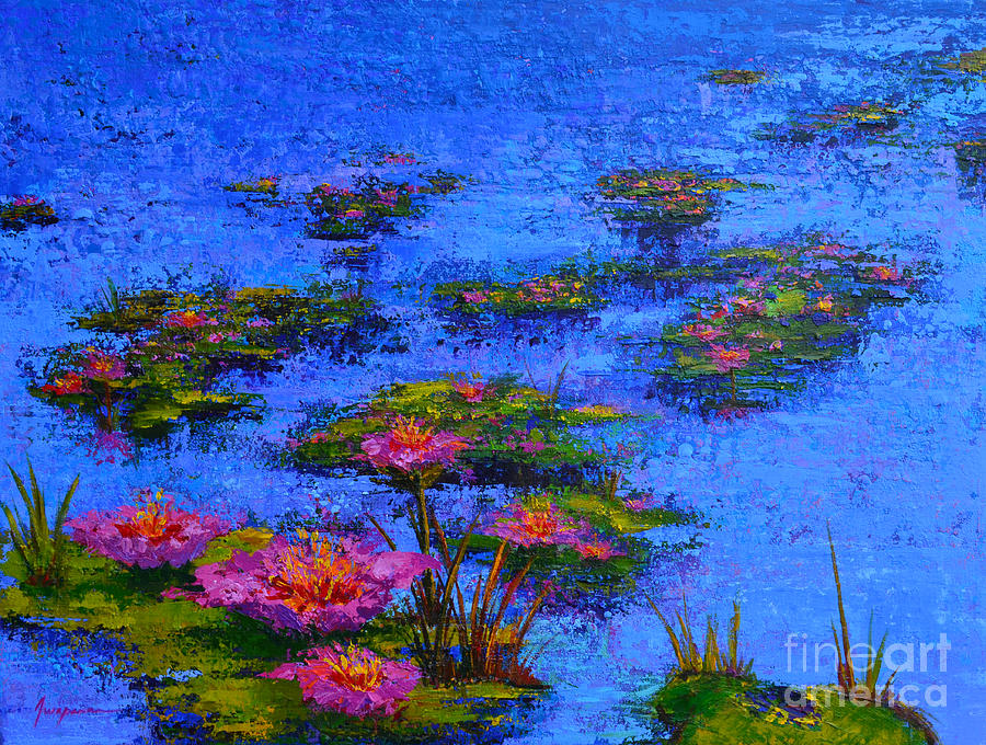 Waterlilies Painting - Joyful State - Modern Impressionistic Art - Palette Knife Landscape Painting by Patricia Awapara