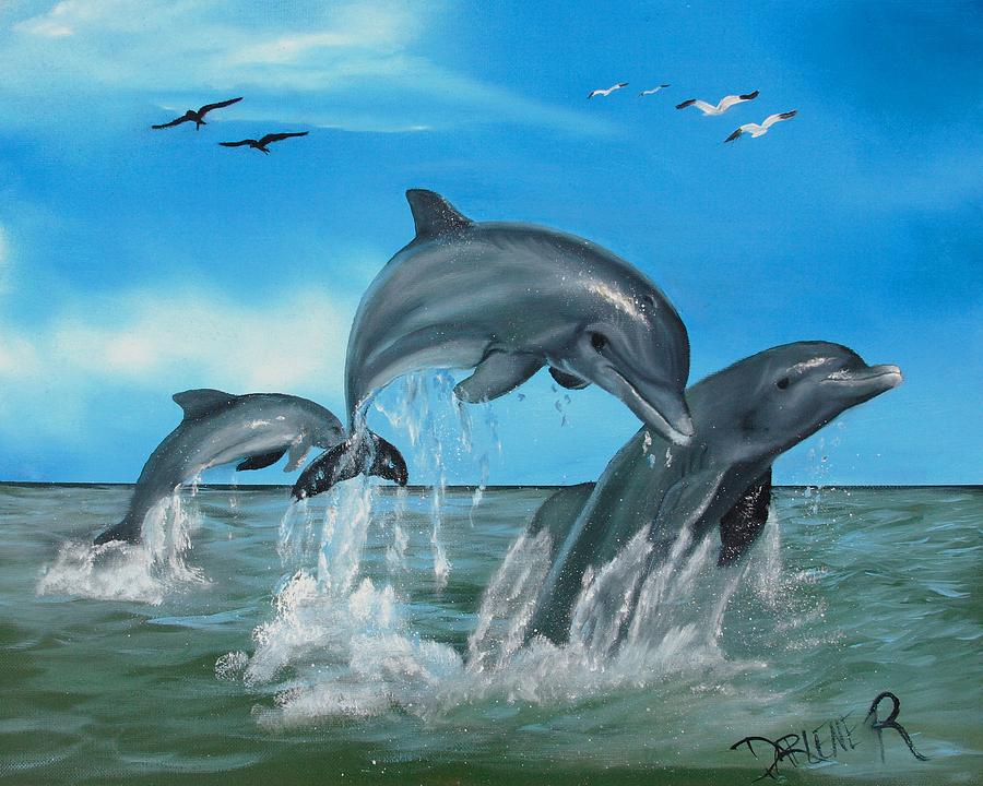 Dolphins Painting - Joyful Trio by Darlene Green