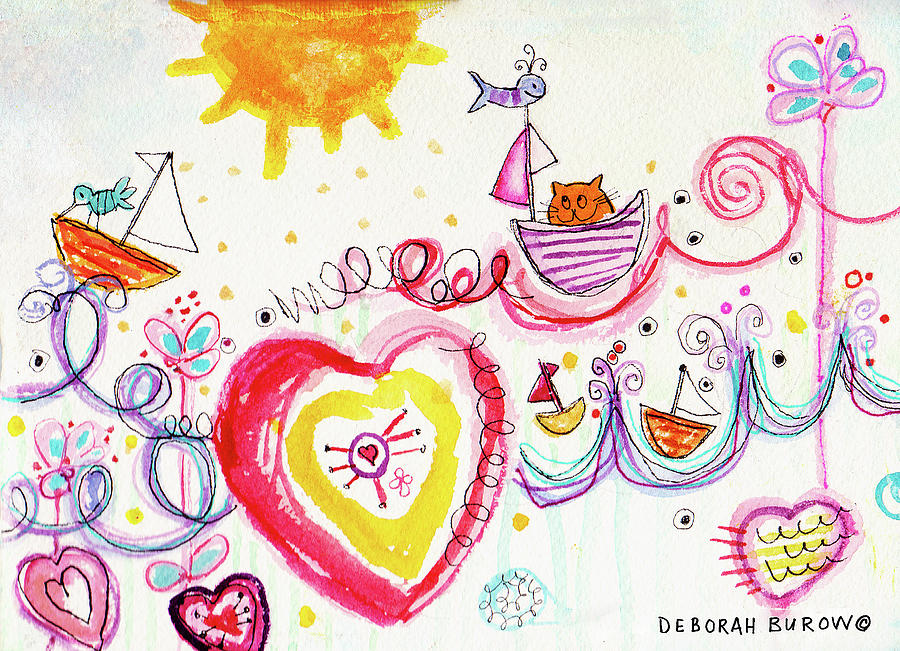 Boats Painting - Joyride by Deborah Burow