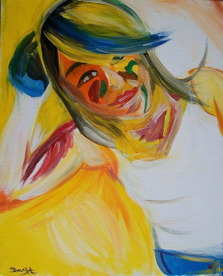 Yellow Painting - Juanita by Sammy Hernandez