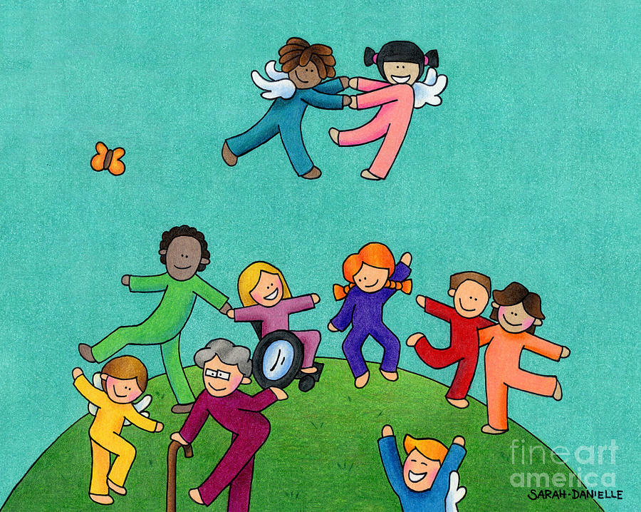 Angels Drawing - Jubilation by Sarah Batalka
