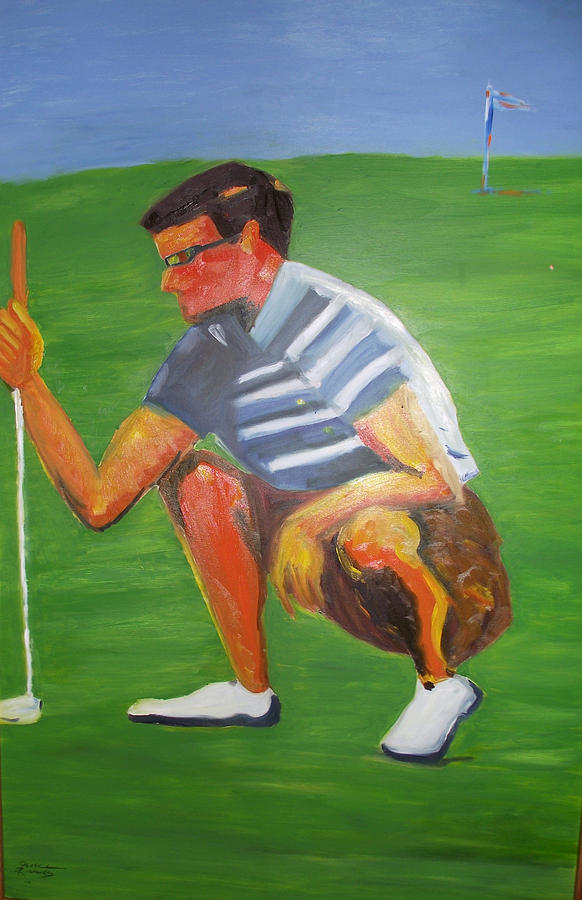 Sports Painting - Judging A Putt by Jenell Richards
