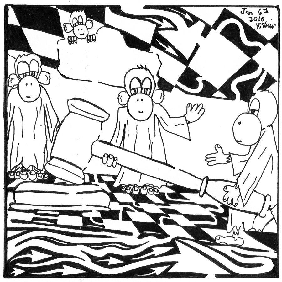 Maze Drawing - Judicial Monkeys Team Of Monkeys Maze Cartoon By Yonatan Frimer by Yonatan Frimer Maze Artist