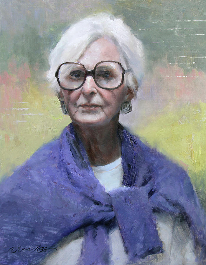 Portrait Painting - Judy In Blue by Anna Rose Bain