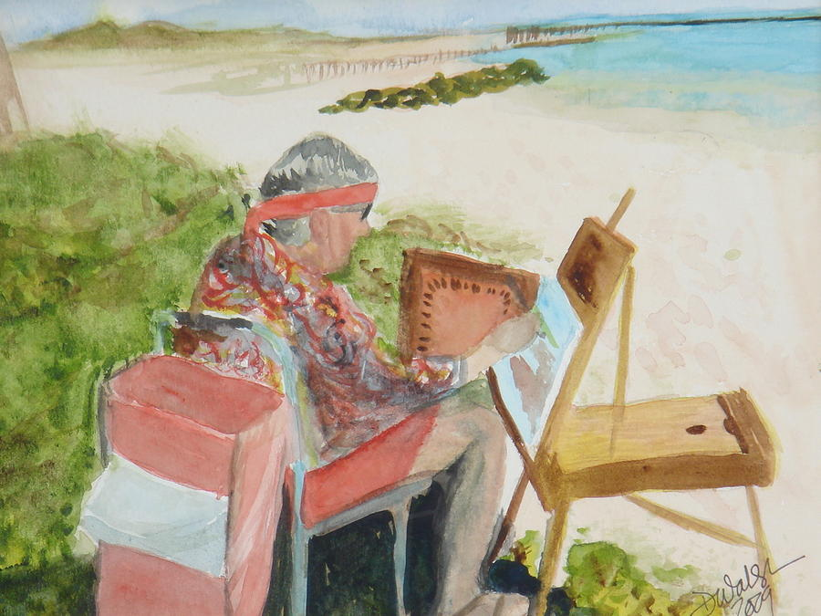 Painter Painting - Julia Painting At Boynton Inlet Beach  by Donna Walsh