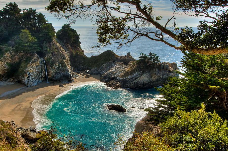 Beach Photograph - Julia Pfeiffer State Park Falls by Connie Cooper-Edwards