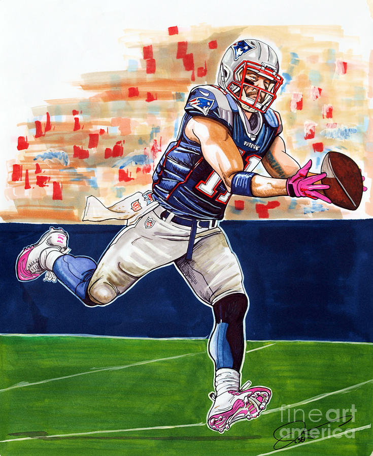 Julian Edelman Drawing - Julian Edelman by Dave Olsen