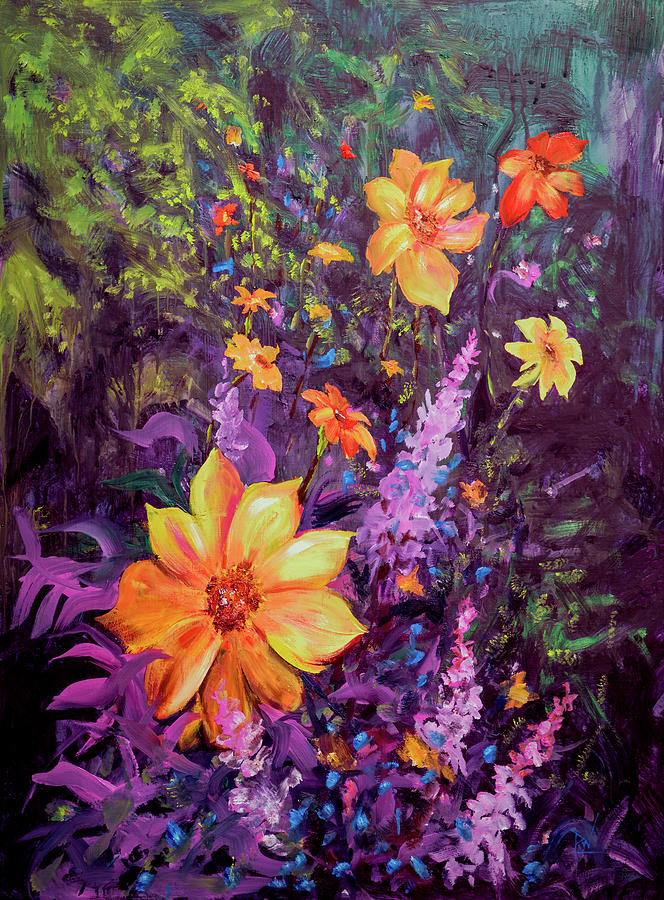 Oil Painting - Julias Dahlias by Philip Lodwick Wilkinson
