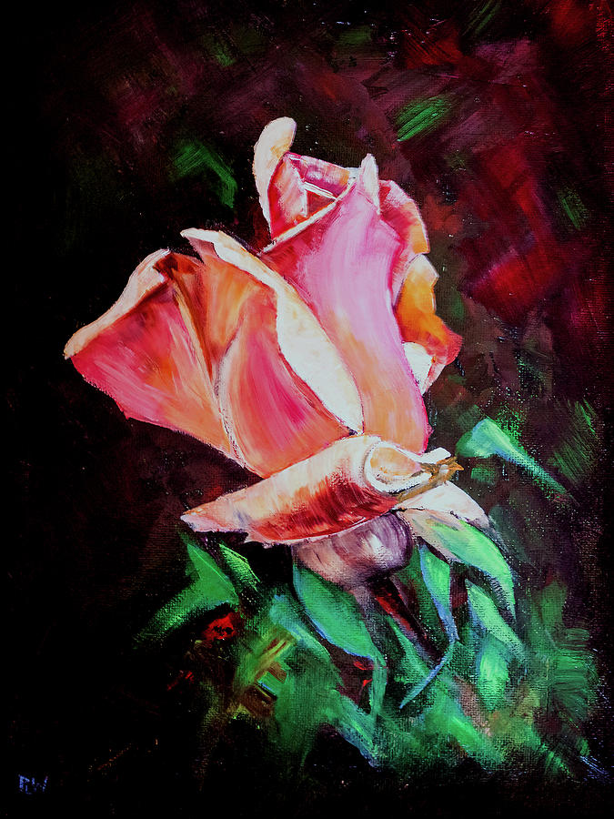 Oil Painting - Julias Rose by Philip Lodwick Wilkinson