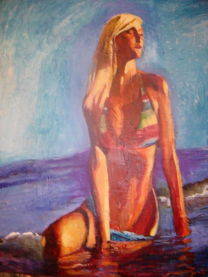 Julie On Beach  Mixed Media by Pierre  Bibeau