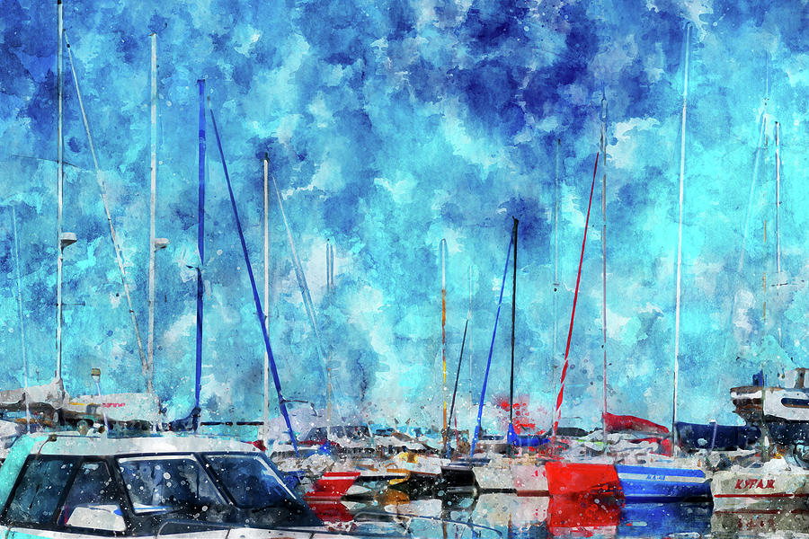 Summer Time Mixed Media - July Lines In Watercolors by Mariia Kalinichenko