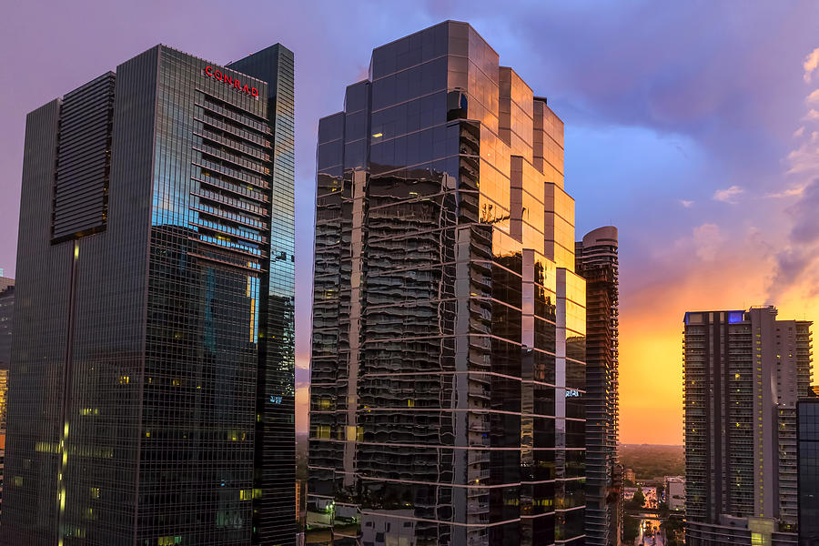 July Sunset Over Miami by Lynn Palmer