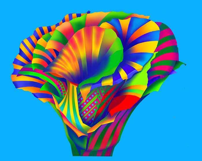 Constructivist Digital Art - Julys  Flower by Howard Berelson
