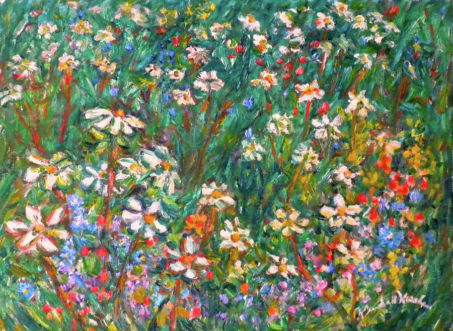 Crown Vetch Painting - Jumbled up Wildflowers by Kendall Kessler