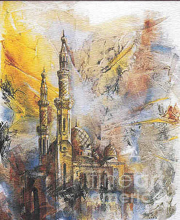 Architectural Painting - Jumeirah Mosque by Tina Siddiqui
