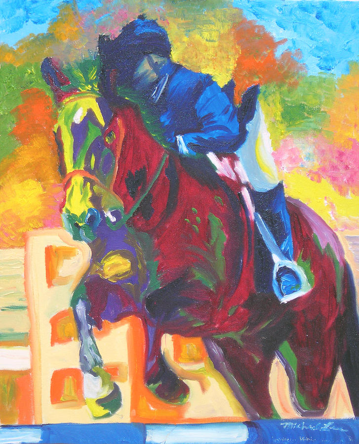 Horse Jumping Painting - Jump Off by Michael Lee