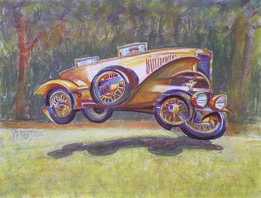 Antique Car Drawing - Jumpin Auburn Car by Gary Peterson