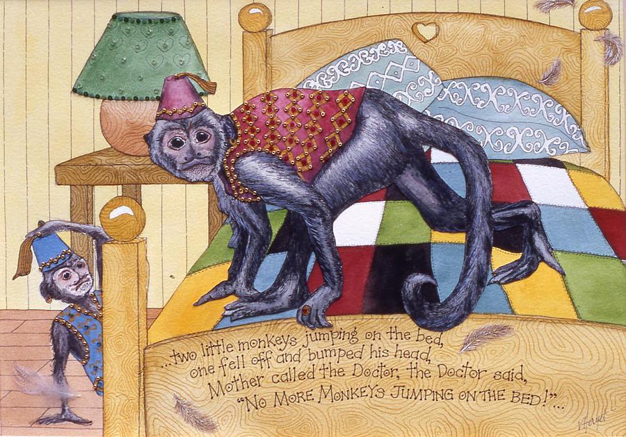 Monkey Painting - Jumpin Monkeys by Victoria Heryet