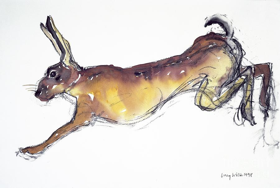 Rabbit Painting - Jumping Hare by Lucy Willis