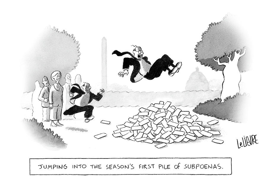 Jumping Into The First Pile of Subpoenas Drawing by Glen Le Lievre