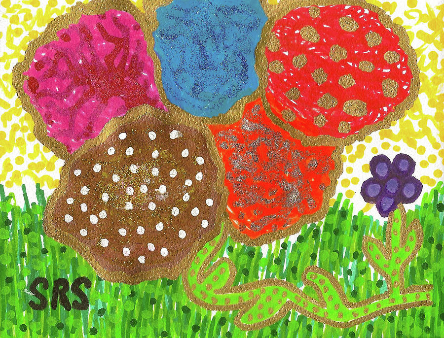 Funky Flowers Drawing - June Is Bloomin by Susan Schanerman