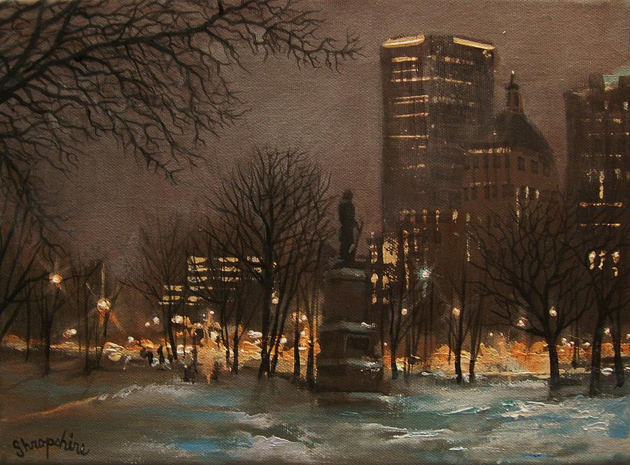 City At Night Painting - Juneau Park Milwaukee by Tom Shropshire