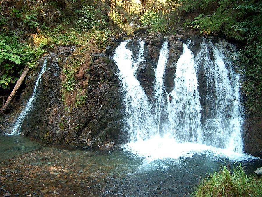 Waterfall Photograph - Juneau Waterfall by Janet  Hall