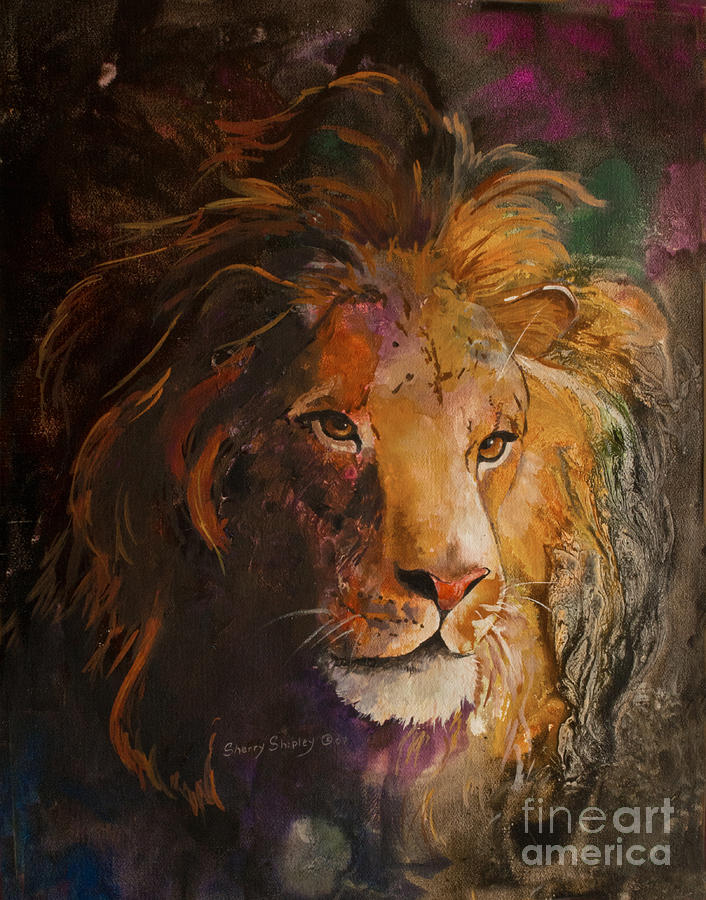 Lion Painting - Jungle Lion by Sherry Shipley