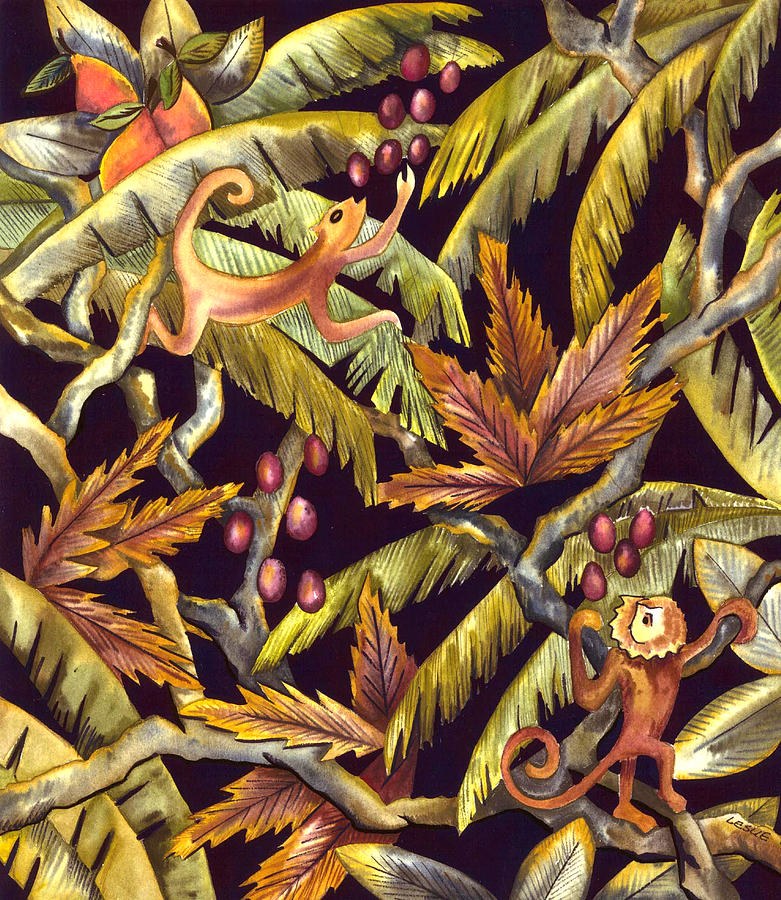 Tropical Painting - Jungle Monkeys by Leslie Marcus