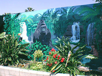 Jungle pool mural painting by mural environments for American tropical mural
