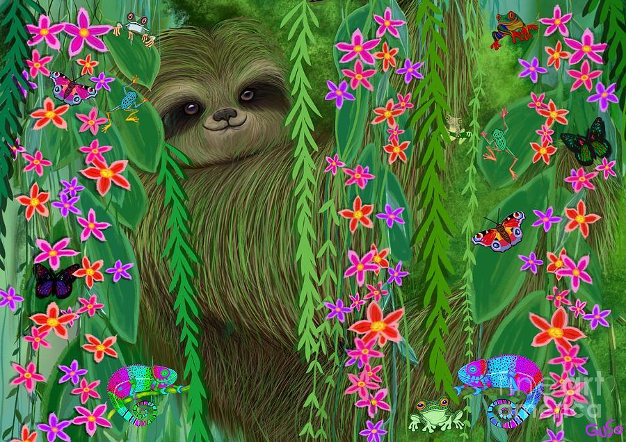 Jungle Sloth Painting