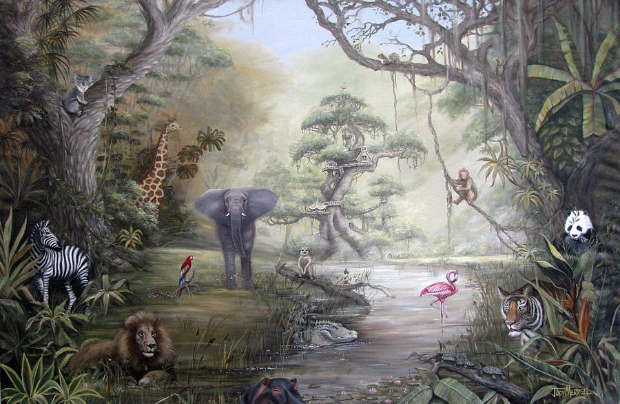 Jungle Painting - Jungle Treehouse by Judy Merrell