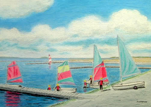 Marine Lake Sailing School Oil Pastel Painting - Junior Sailing School, West Kirby Marine Lake by Peter Farrow
