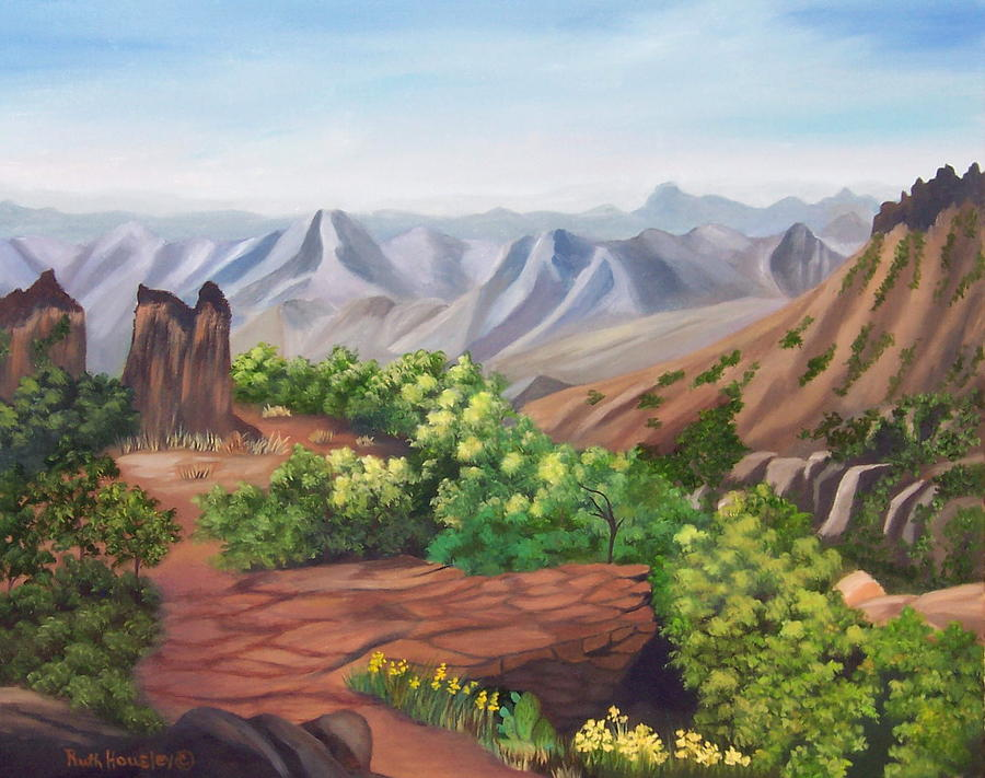 Landscape Painting - Juniper Canyon   Lost Mine Trail by Ruth  Housley