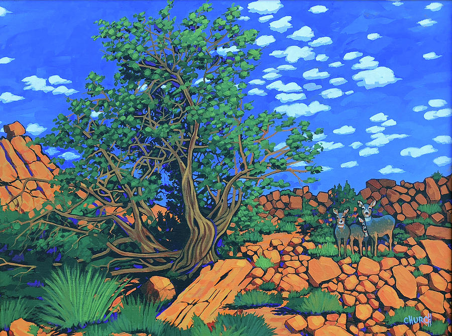 Juniper Trees Painting - Juniper Trees And Deer by Ken Church