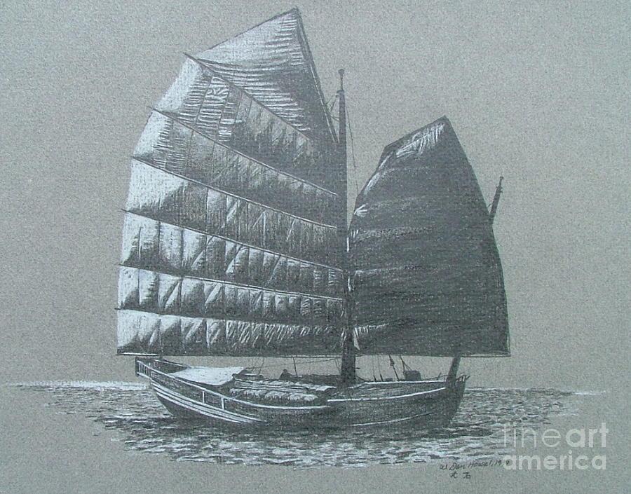 Sail Boat Drawing - Junk by Dan Hausel