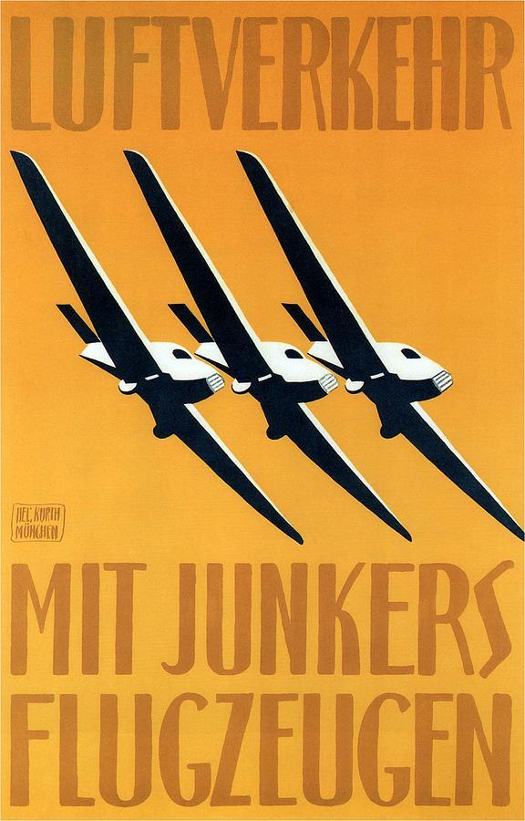 Junkers-flugzeug And Luftverkehr Aircrafts - Vintage Advertising Poster - Minimalist Painting