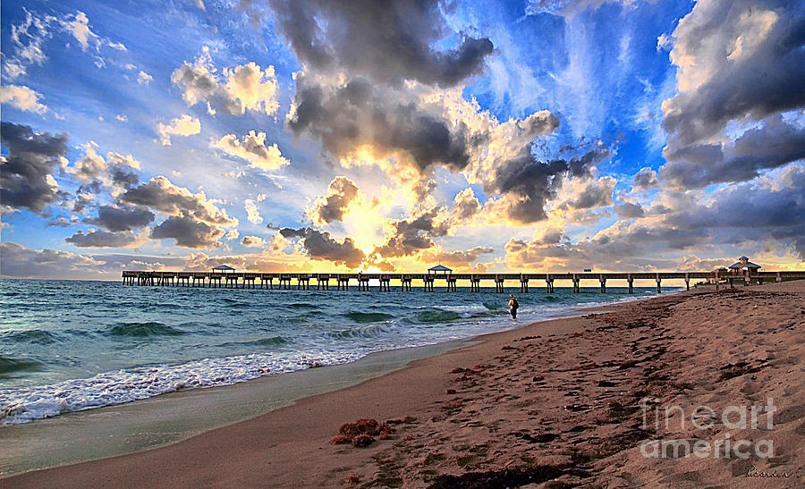 Beach Photograph - Juno Beach Pier Florida Sunrise Seascape D7 by Ricardos Creations