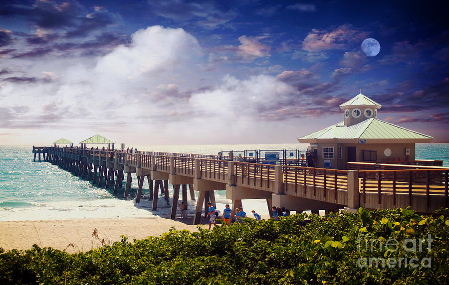 Beach Photograph - Juno Beach Pier Treasure Coast Florida Seascape Dawn C5a by Ricardos Creations