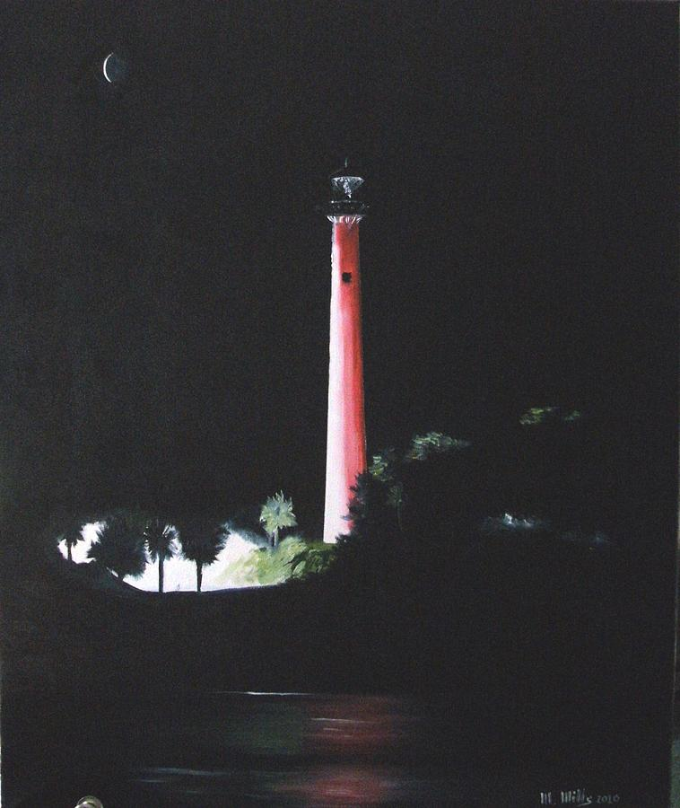 Lighthouse Painting - Jupiter Lighthouse At Night by Maria Mills