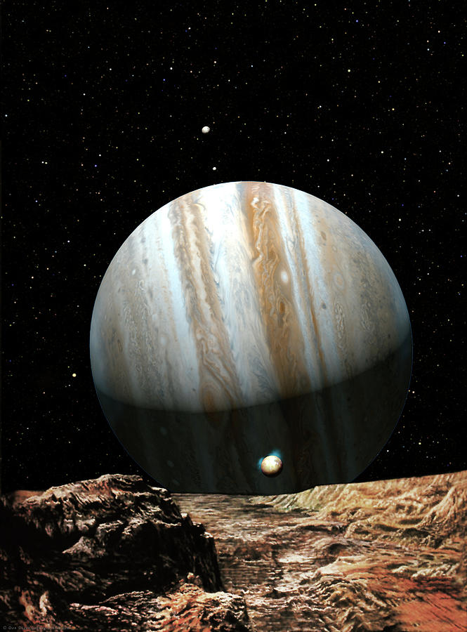 Space Painting - Jupiter Seen From Europa by Don Dixon