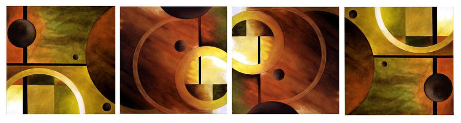 Geometric Abstract Painting - Jupiters Moons 4 Part Series by Brian  Major
