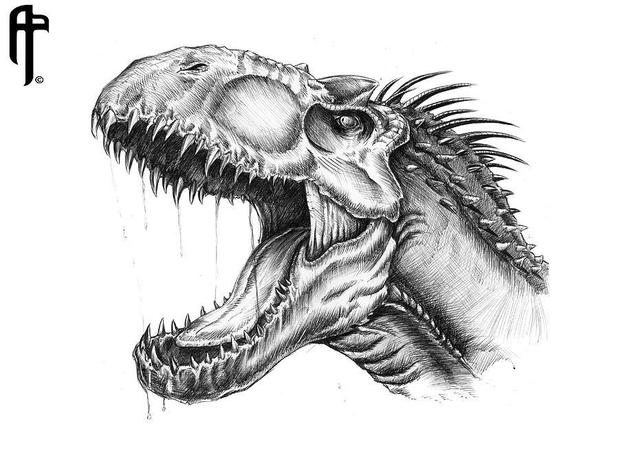Jurassic World Indominus-rex Portrait Drawing by Aram Papazyan