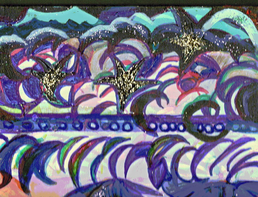 Abstraction Mixed Media - Just A Little Night Mosaic by Anne-Elizabeth Whiteway