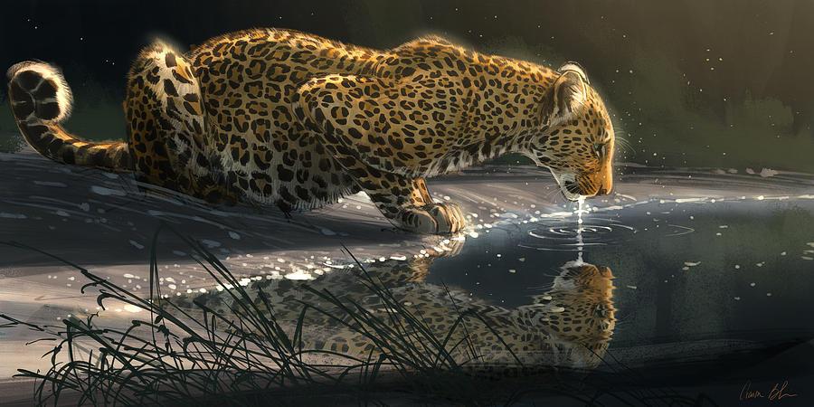 Leopard Digital Art - Just A Sip by Aaron Blaise