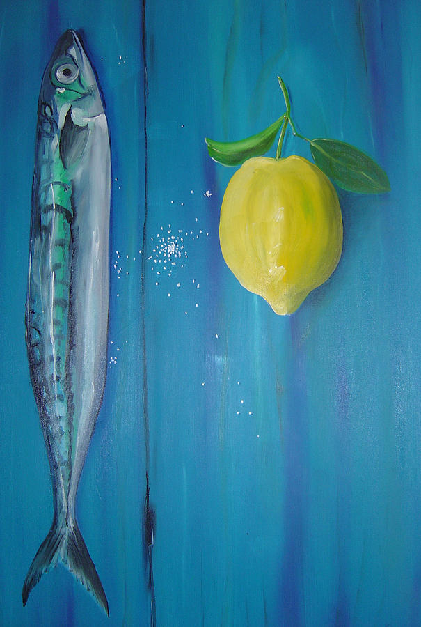Fish Painting - Just Add Lemon And A Pinch Of Salt by Tracey-anne Pryke