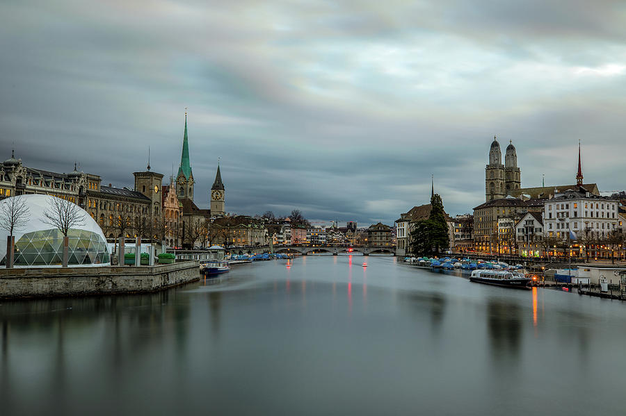 Just After Sunset In Zurich Photograph