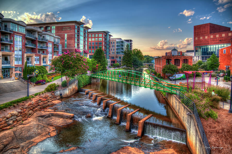 Just Before Sunset 2 Reedy River Falls Park Greenville South Carolina Art by Reid Callaway