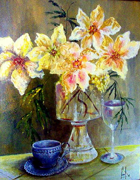 Just coffee maybe wine Painting by Carol P Kingsley