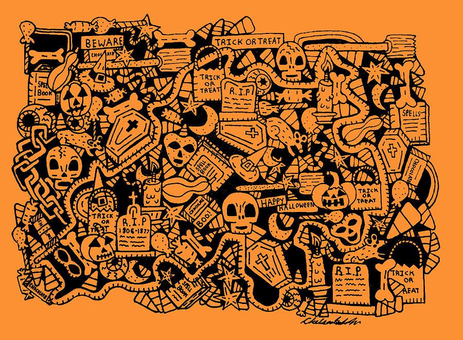 Halloween Drawing - Just Halloweeny Things V7 by Chelsea Geldean